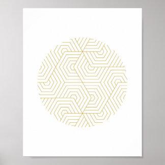 Gold and White Hexagon Circle Geometric Wall Art