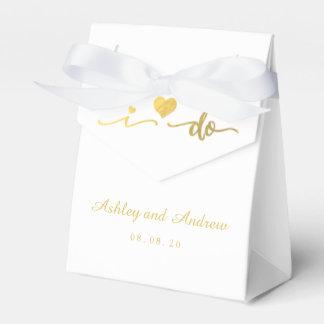 Gold and White I Do Wedding Favor Box