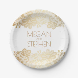 Gold and White Lace Floral Elegant Wedding Paper Plate