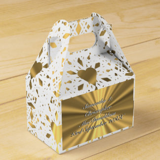 Gold and  white lace heart wedding favor box