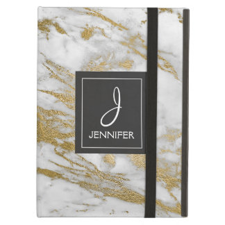Gold and White Marble Elegant Monogram iPad Air Cover