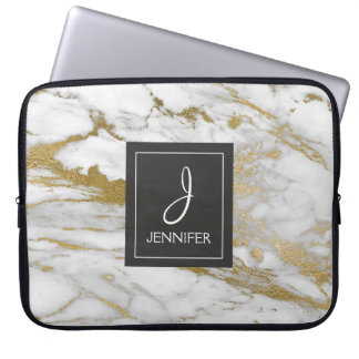 Gold and White Marble Elegant Monogram Laptop Sleeve