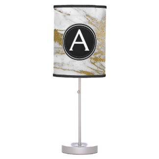 Gold and White Marble Monogram Lamp