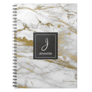 Gold and White Marble Monogram Notebook