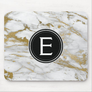 Gold and White Marble Monogrammed Modern Mouse Pad