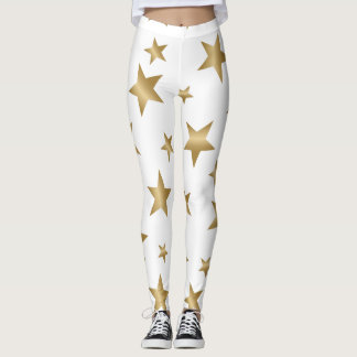 gold and white metallic stars fashion leggings