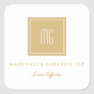 Gold and White Monogram Business Logo Stickers