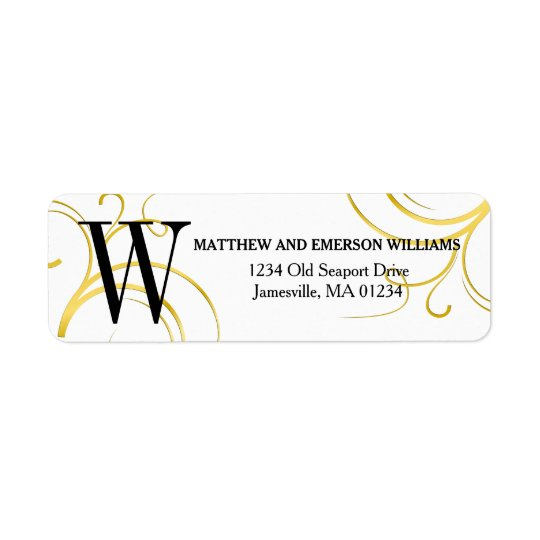 Gold and White Monogrammed Return Address Labels