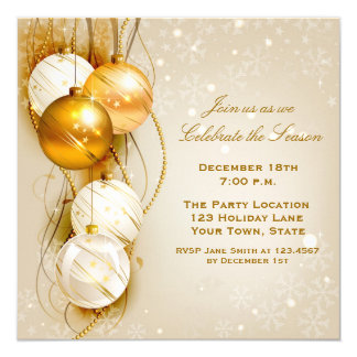 Gold and White Ornaments Holiday Invitation