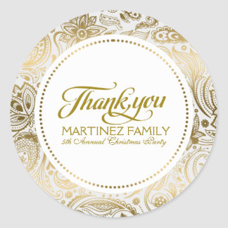 Gold And White Paisley Lace Thank You Classic Round Sticker