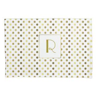 Gold and White Polka Dot Pillow Case Pillowcase