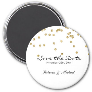 Gold and White Polka Dots Glitters Save the Date 3 Inch Round Magnet