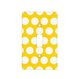 Gold and White Polka Dots Light Switch Cover