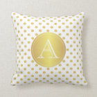 Gold And White Polka Dots, Monogram Pillow