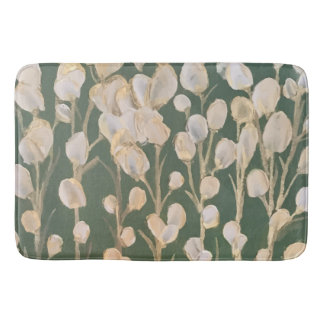 Gold and White Poppies Artwork Bath Mat