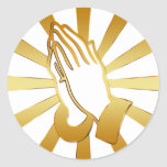 GOLD AND WHITE PRAYING HANDS CLASSIC ROUND STICKER