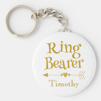 Gold and White Ring Bearer Keychain
