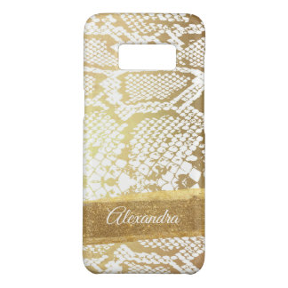 Gold and White Snake Pattern with Gold Glitter Case-Mate Samsung Galaxy S8 Case