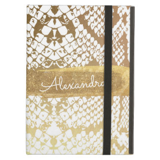 Gold and White Snake Print with Gold Glitter iPad Air Cover