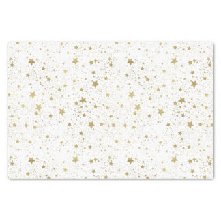 Gold and White Sparkling Stars Tissue Paper