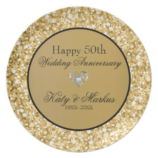 Gold And White Sparks Glitter- Wedding Anniversary Plate