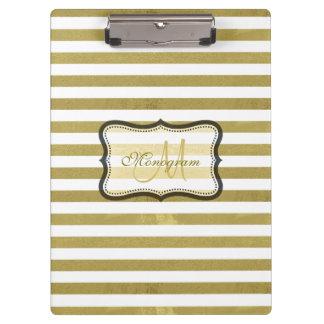 Gold and White Stripe Monogram Clipboard