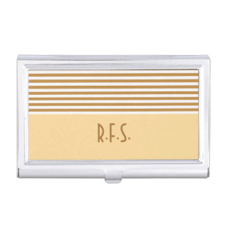 Gold and White Stripe Stay organized Business Card Holder