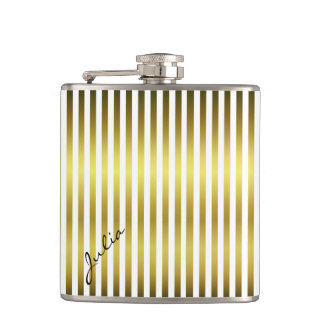 Gold and White Striped Custom Flask