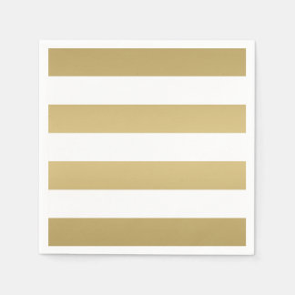 Gold and White Striped Party Napkins Paper Napkin