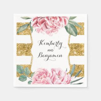 Gold and White Stripes Pink Vintage Floral Wedding Paper Napkin