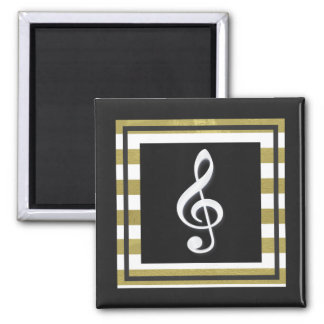 Gold and White Stripes With Treble Clef Magnet