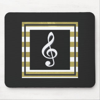 Gold and White Stripes With Treble Clef Mouse Pad