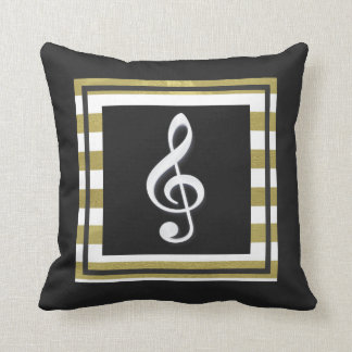 Gold and White Stripes With Treble Clef Throw Pillow