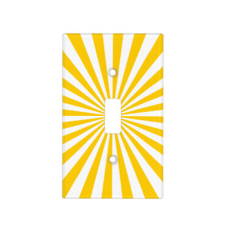 Gold and White Sunburst Pattern Light Switch Cover