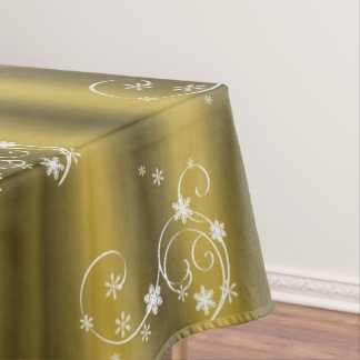Gold and White Swirls Christmas Tablecloth