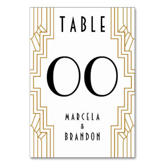 Gold and White Table Number Card