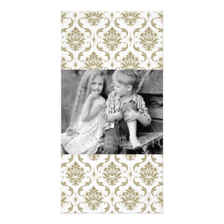 Gold and White Vintage Damask Pattern Picture Card