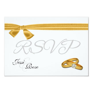 """Gold and White Wedding RSVP 3.5"""" X 5"""" Invitation Card"""