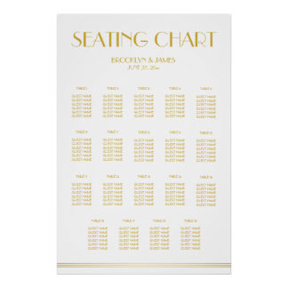 Gold And White Wedding Seating Chart Poster 24x36