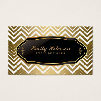 Gold And White Zigzag Chevron Business Card