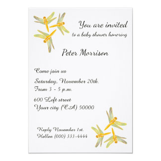 Gold and Yellow Colored Dragonflies Card