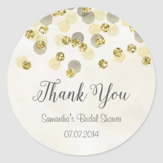 Gold and Yellow Confetti Bridal Shower Sticker
