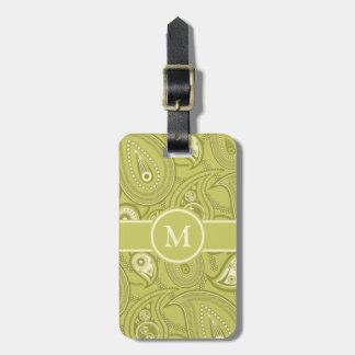 Gold and Yellow Paisley Bag Tag