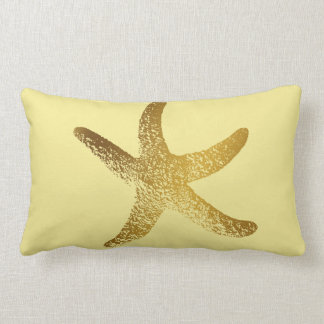 Gold and Yellow Starfish Throw Pillow