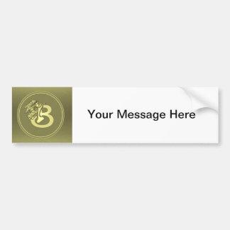 Gold Angel Monogram Medallion Letter B Bumper Sticker