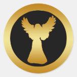 GOLD ANGEL ROUND STICKER