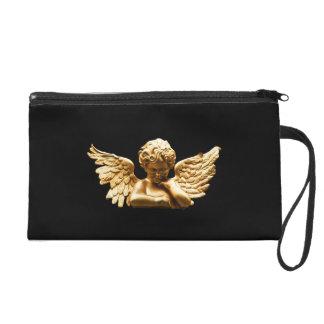Gold Angel Satin Clutch Bag Wristlet