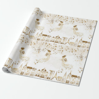 Gold Angel Village Star Dust Gift Wrapping Paper