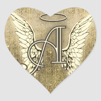Gold Angel Wings Heart Letter A Heart Sticker