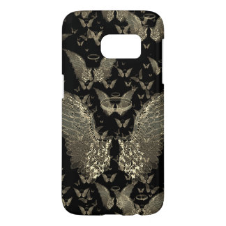 Gold Angel Wings on Black Background Samsung Galaxy S7 Case